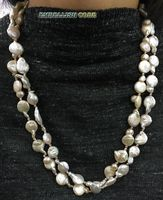 Для леди любую одежду Нерегулярные природный жемчуг ожерелье больше стиль белый светло-розовый жемчуг и Розовый золотой застежка мотаться