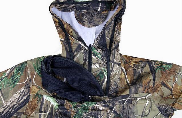 Costume de Camouflage bionique Ultra-mince d'été Anti-moustique pêche vêtements de chasse tactique Ghillie costume veste pantalon ensemble - 6