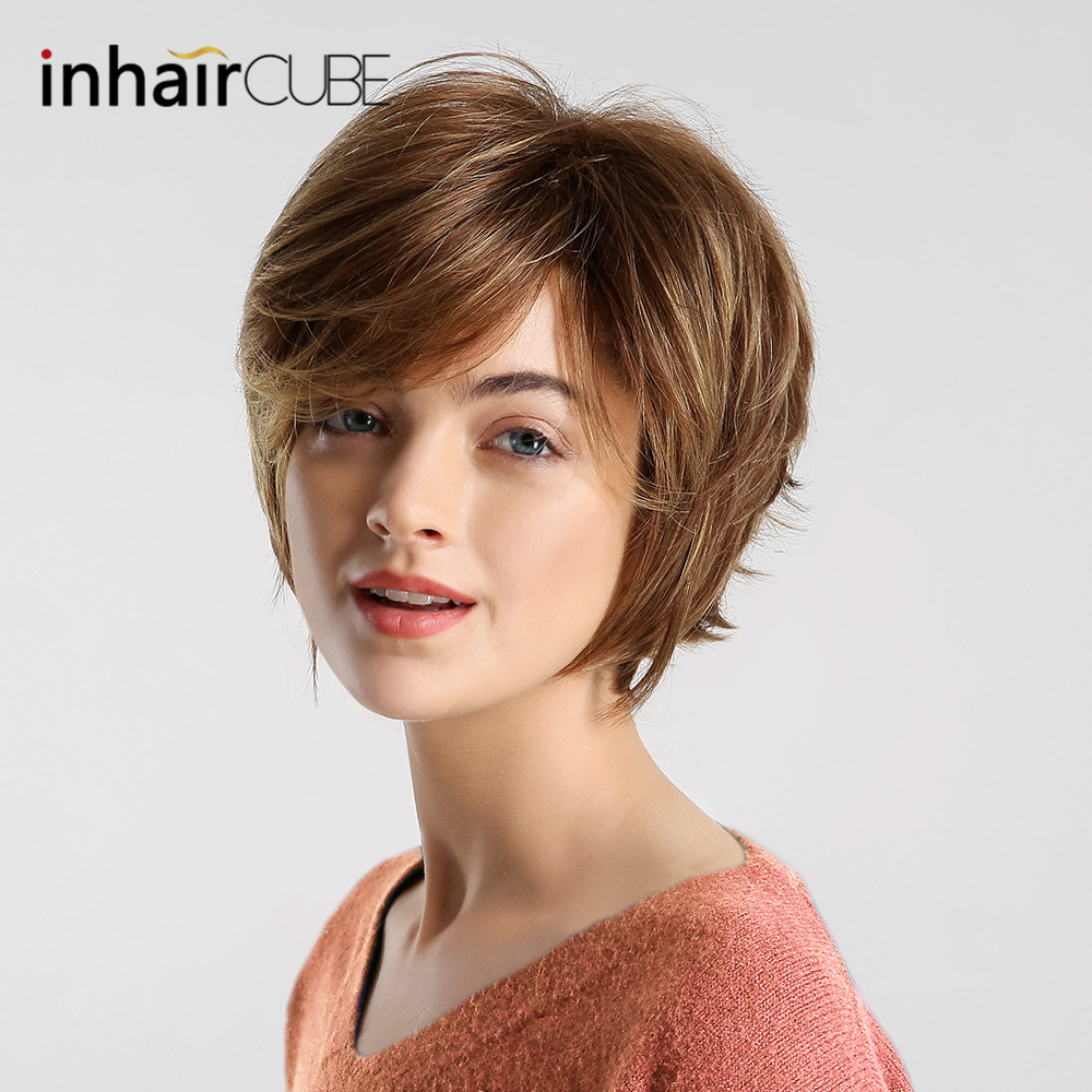 Inhair Cube <font><b>10</b></font> Inches Women Short Hair <font><b>Wigs</b></font> Ladies Party Daily Natural Mixed Color Synthetic Hand-woven Forehead image