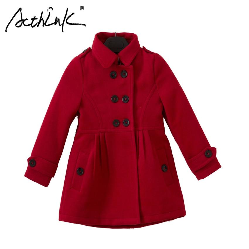 ActhInK New Girls Winter Double Breasted Woolen Coat Brand Teen Girls Heavy Warm Wool Coat Children