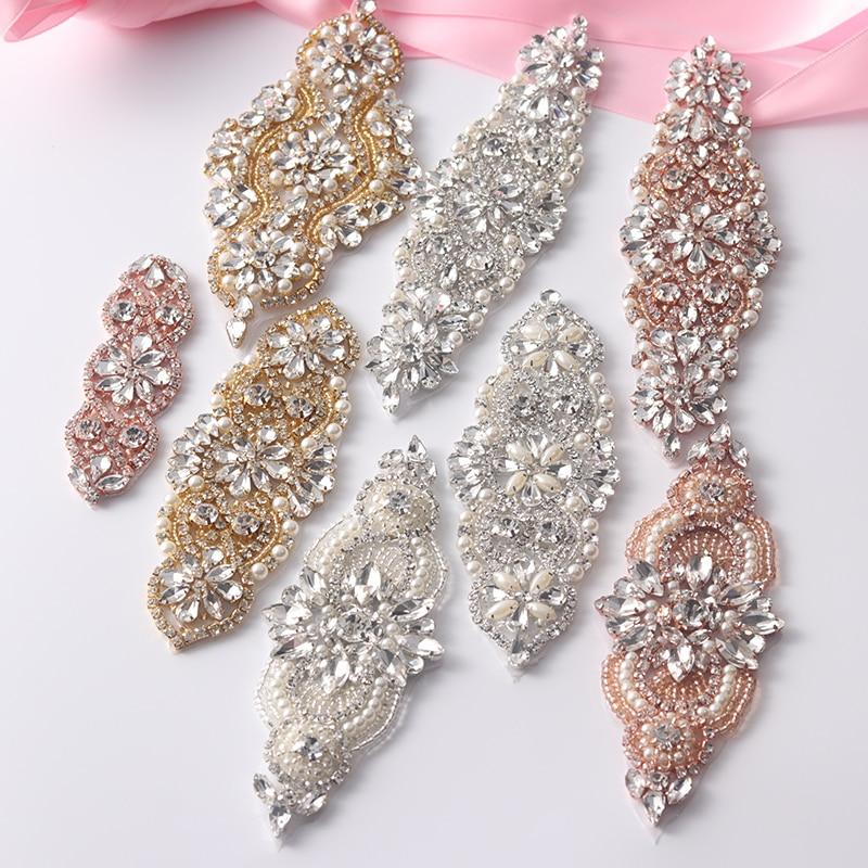 fc76bdfd55 Aliexpress.com : Buy 1(PCS) Rhinestone Appliques For Wedding Belt Rose Gold  Sliver Crystal Beads Sew On Rhinestone Appliques Bridal Accessory YS844 ...