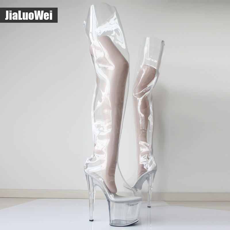 e011c7c97902f Women 20cm Extreme High Heels +9CM Platform Clear PVC Over Knee High Boots  Sexy Fetish Zip Fashion Show Transparent Crotch Boots-in Over-the-Knee Boots  from ...