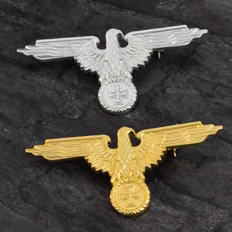 Militer Jerman Eagle Emas/Perak Warna Bros Lencana Kerah Pin Bros Cap Cockatiel Pria Perhiasan