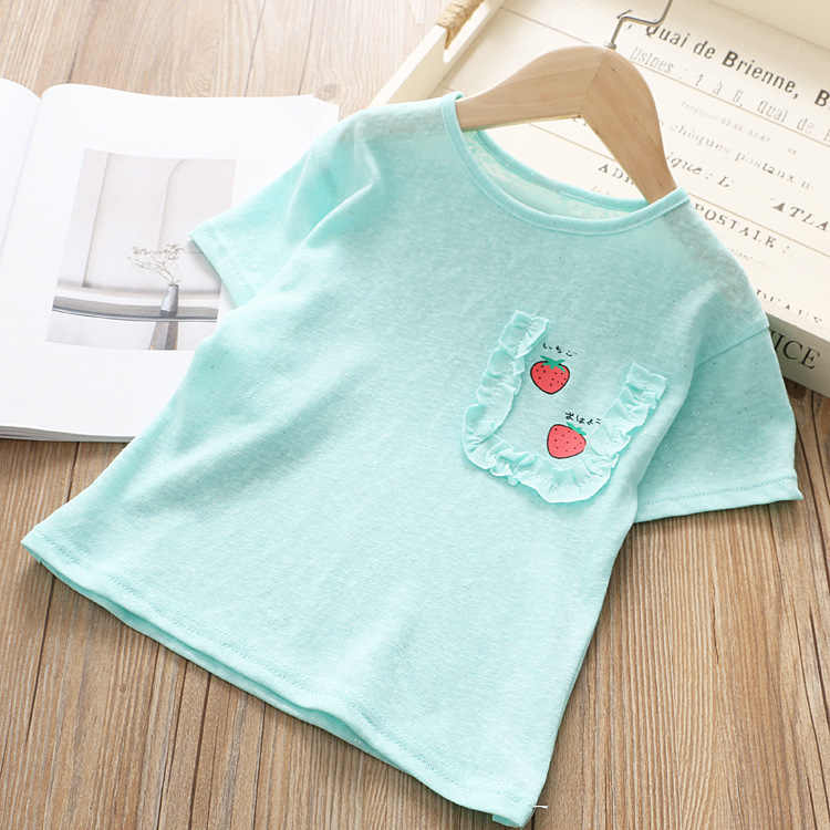 Летняя детская одежда, милый Принт клубники для девочек, детская футболка с джокером, 19330