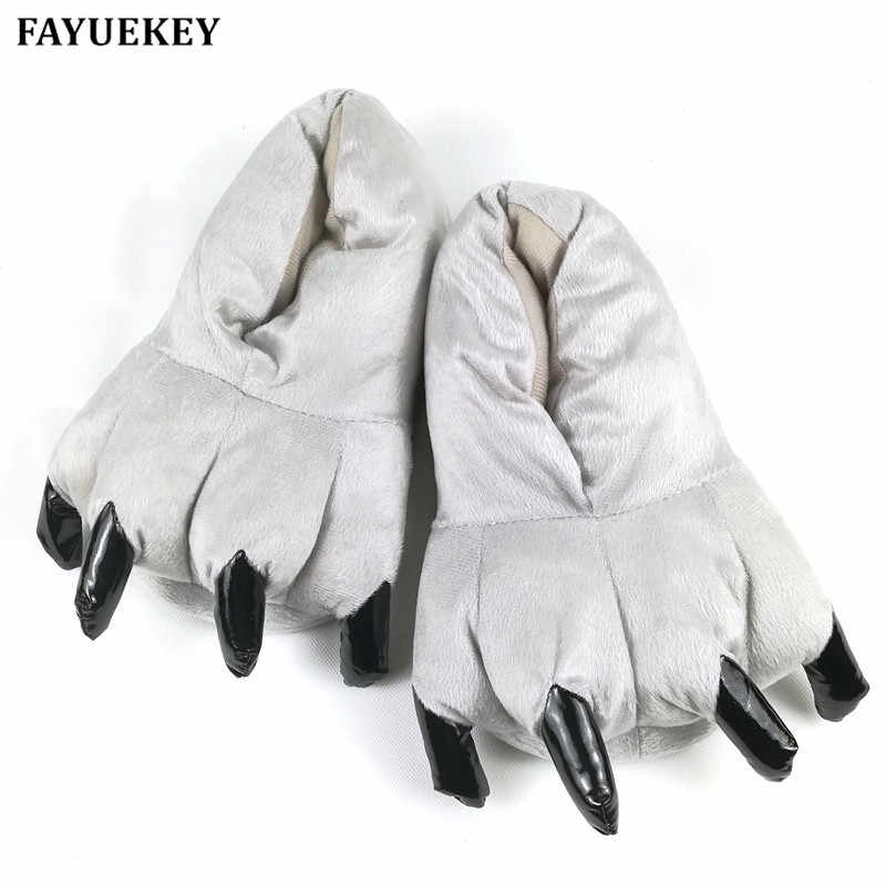 18c9ed4a5c7 FAYUEKEY Winter Home Warm Paw Plush Slippers Thermal Cotton Soft Funny  Animal Christmas Monster Claw Slippers