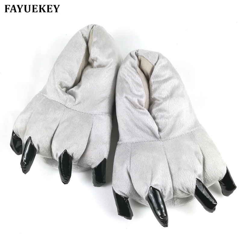 FAYUEKEY Winter Home Warm Paw Plush Slippers Thermal Cotton Soft Funny Animal Christmas Monster Claw Slippers Indoor\Floor Shoes men winter soft slippers plush male home shoes indoor man warm slippers shoes