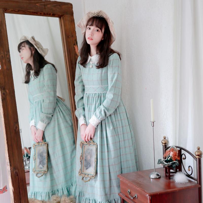 Retro ผู้หญิงสไตล์ยาวขนสัตว์ลายสก๊อตฤดูหนาว Maxi ~ Custom Tailored-ใน ชุดเดรส จาก เสื้อผ้าสตรี บน   2