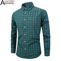 ALEATORY 2019 New 2019 autumn spring mens plaid casual shirts long sleeve 100% cotton dress shirt men Striped plaid camisa