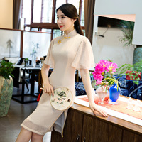 פרחים אלגנטיים שמלת וינטג 'נשי תחרה ארוך בסגנון הסיני Cheongsam Qipao נשים סקסי Slim שמלות מקרית גודל S M L XL XXL