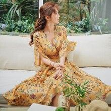 Dabuwawa Spring V-Neck Ruffles Print Maxi Dress for Girls Women 2019 New Flare Sleeve Elegant Holiday Chiffon Dresses  DN1ADR018