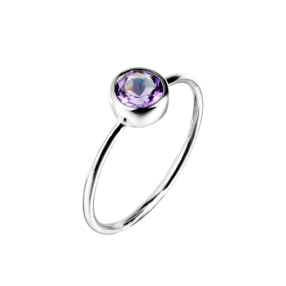 DORMITH Real 925 Sterling Silver Rings  Natural Amethyst Rings  Gemstone Rings For Women Jewelry Rings