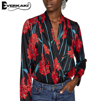 Everkaki Women Floral Print Blouse Shirts Vintage Deep V Turn Down Collar Streetwear Ladies Tops Femme