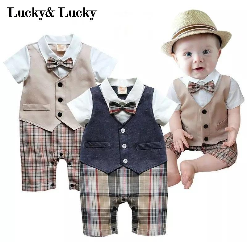 Gentleman Baby New Style Short Sleeve Wedding And Party Baby Boys Clothes Cut Rompers New Born Clothes(China)