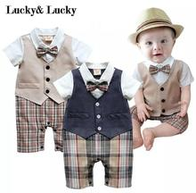 gentleman baby new style short sleeve wedding and party baby boys clothes cut rompers new born