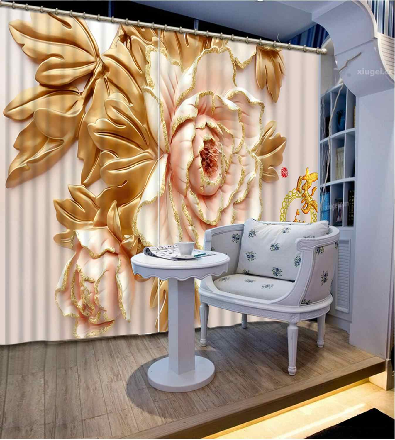 Flowers print Chinese Customized 3D Blackout Curtains Living Room Bedroom Hotel Window relief flowr for bedroom