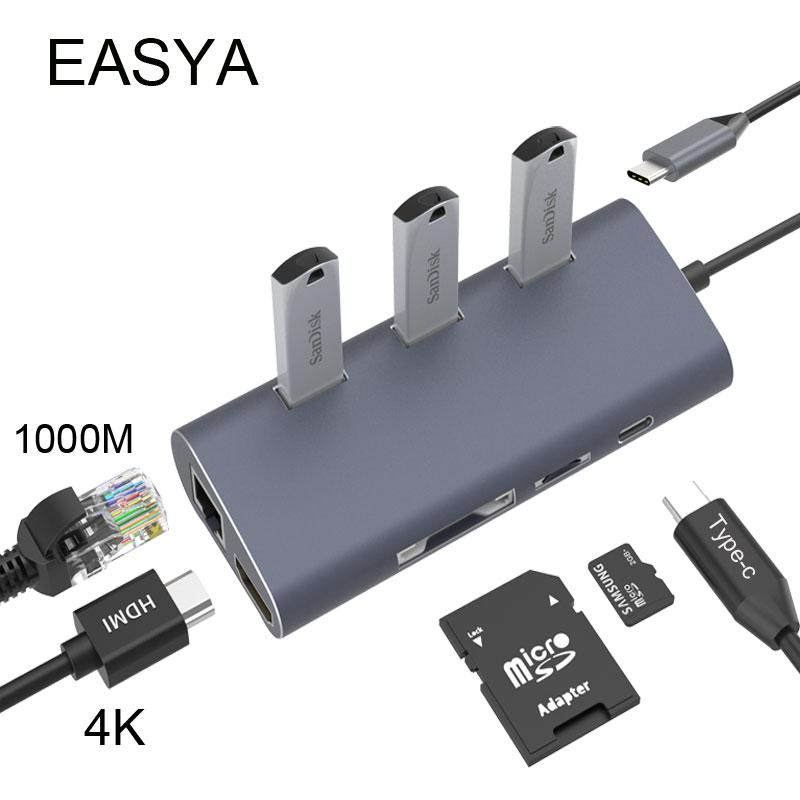 EASYA Wholesale Thunderbolt 3 USB C Hub to HDMI Rj45 1000Mbps Adapter USB 3.0 Hub with PD SD/TF Card Reader Slot for Macbook Pro цены