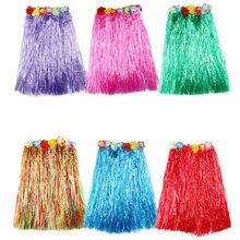 Юбки из пластиковых волокон для девочек, Юбка Хула, Гавайские костюмы, женские праздничные и вечерние платья для костюмированной вечеринки 40