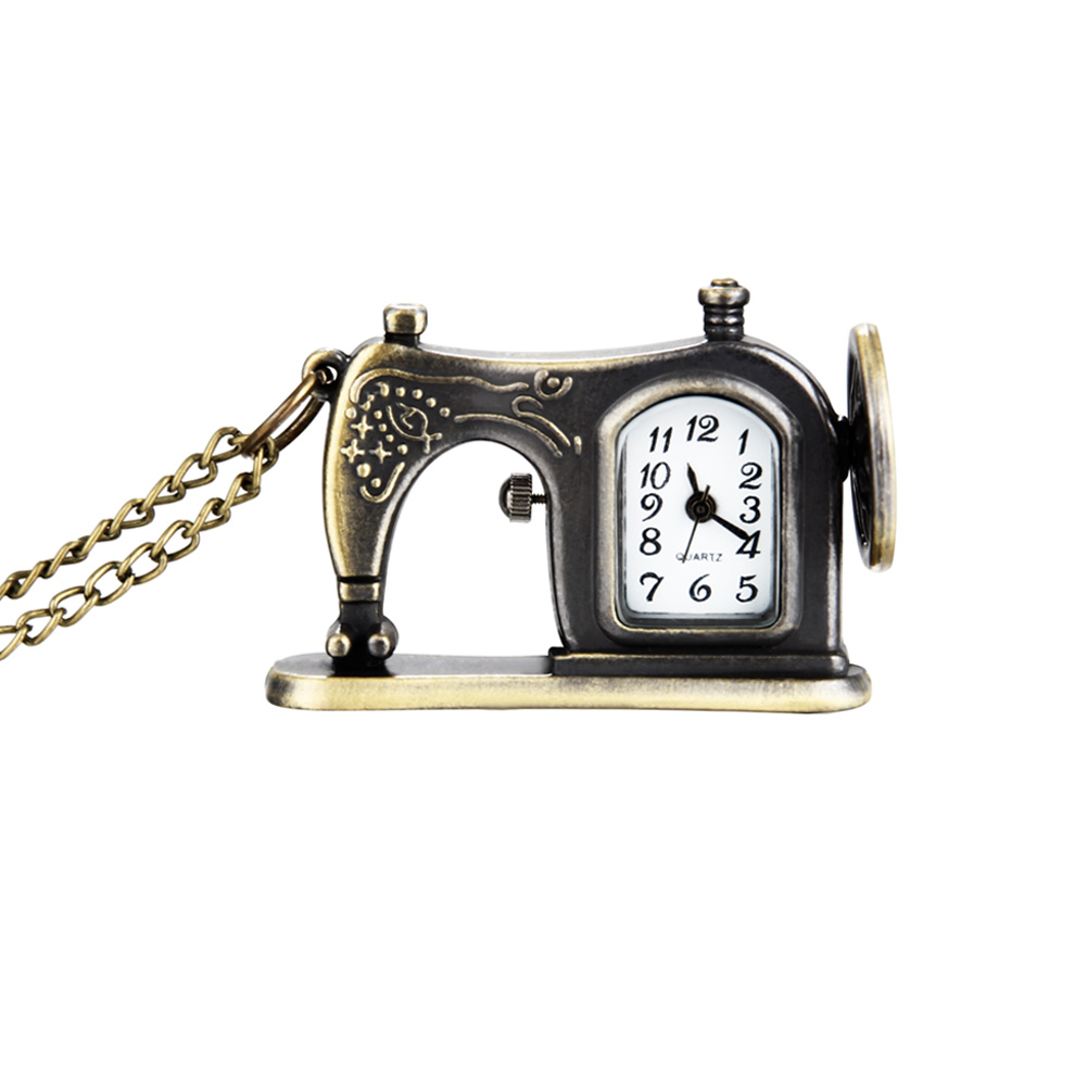 Retro Antique Bronze Alloy Sewing Machine Design Pocket Watch With Necklace Chain Best Gift  88 LXH antique retro bronze car truck pattern quartz pocket watch necklace pendant gift with chain for men and women gift