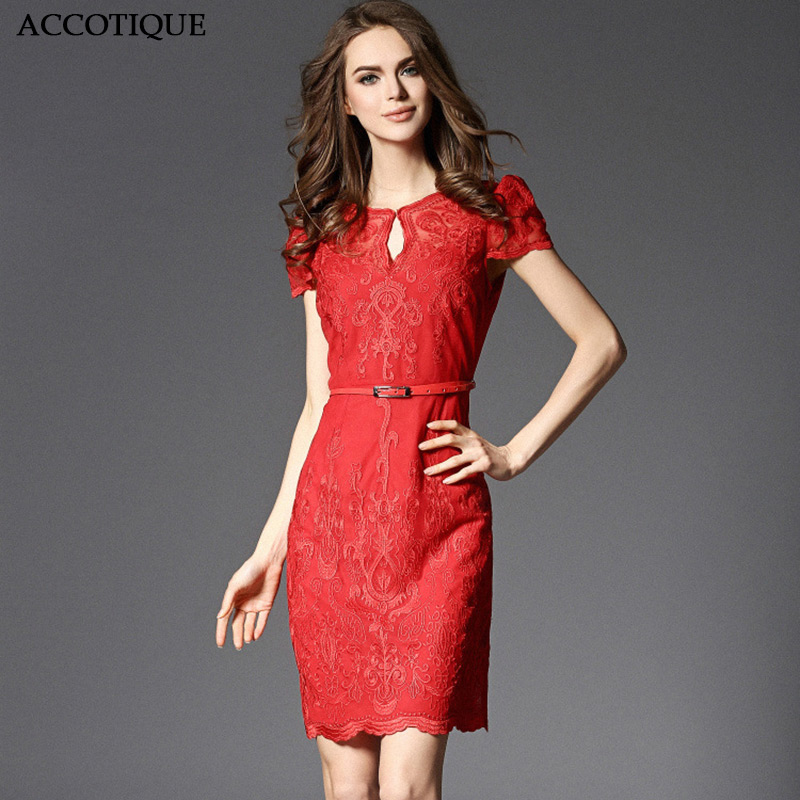High Quality New Summer Womens Embroidery Solid Red Party Dress Female Elegant O Neck Short Sleeve