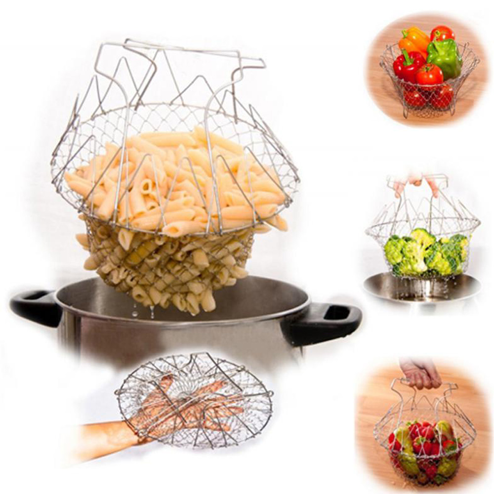 Getyoursave High Quality Foldable Steam Rinse Strain Fry French Chef Basket Magic Basket Mesh Basket Strainer Net Kitchen Cooking Tool