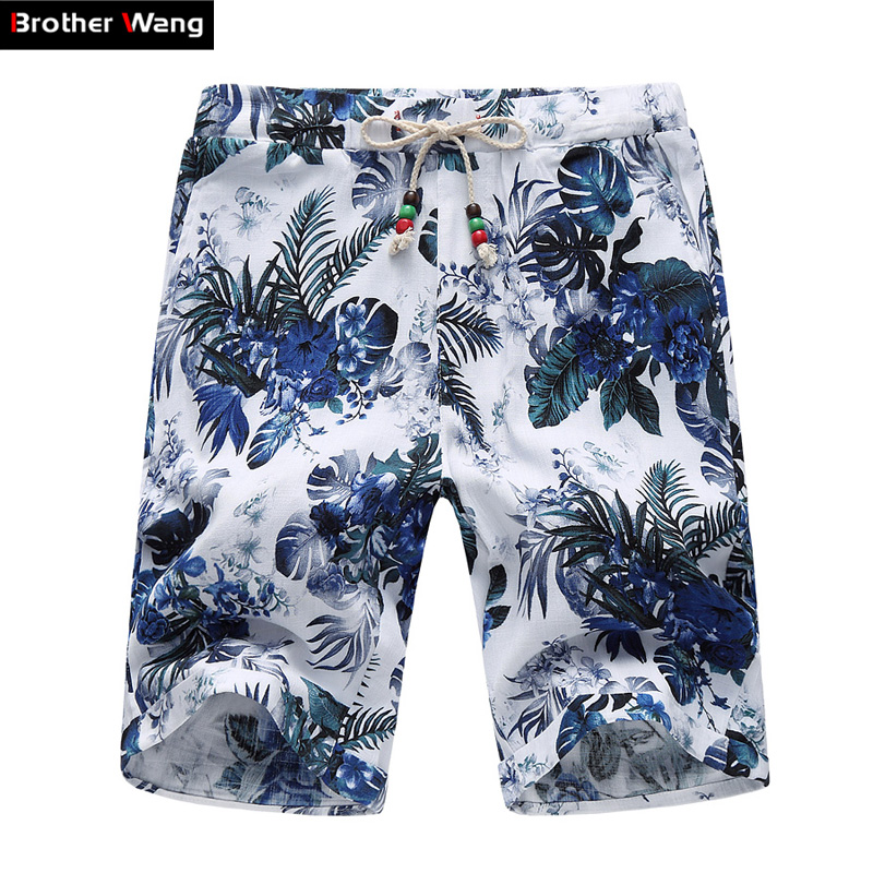 Shorts Men Bermuda Drawstring Floral-Print Men's Large-Size Beach New 4XL 5XL 6XL Loose