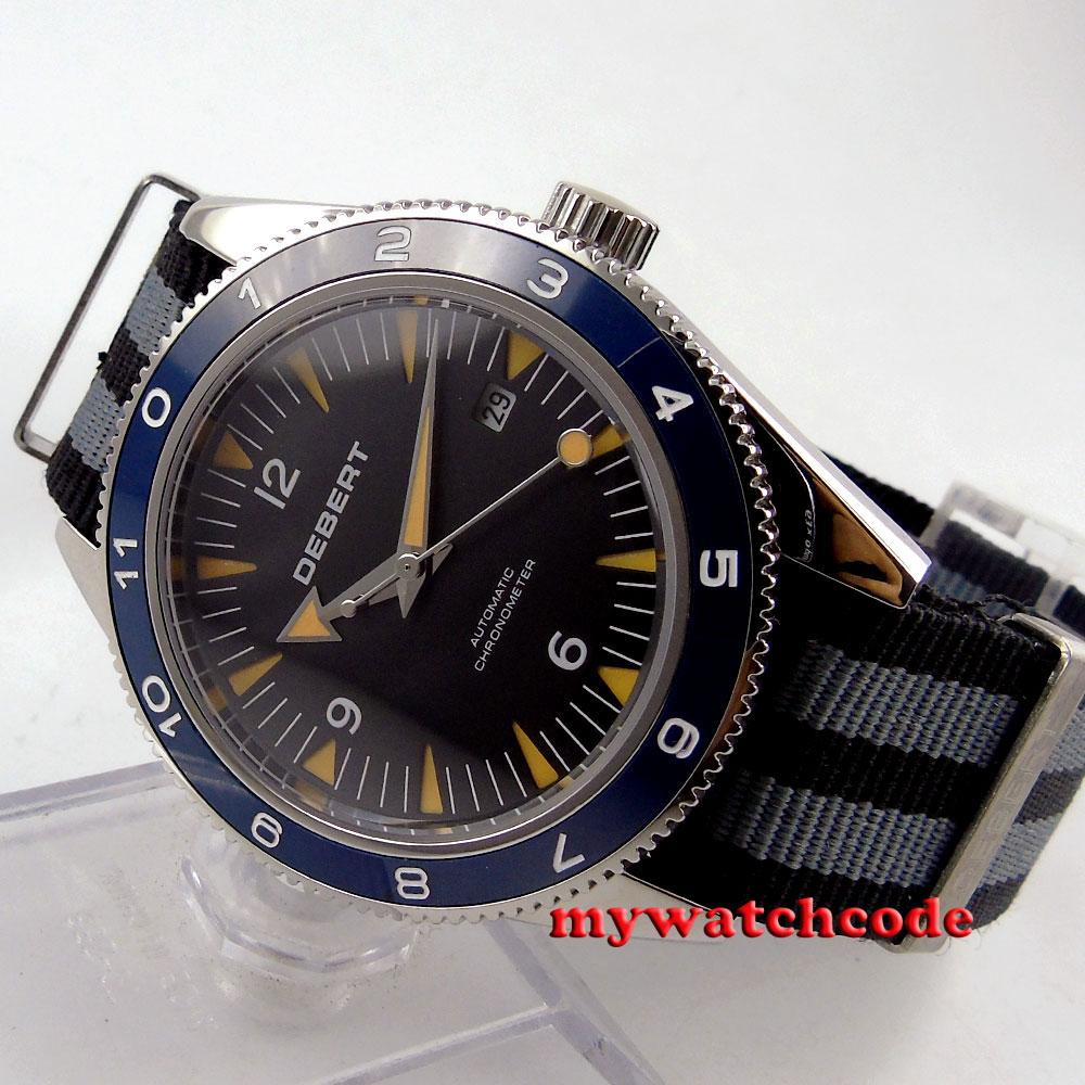 41mm debert black dial orange hands 21 jewels miyota Automatic mens Watch D40 сабвуфер cadence xbp121 black orange