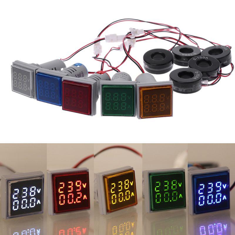 Square LED Digital Dual Display Voltmeter & Ammeter Voltage Gauge Current Meter AC 60-500V 0-100A