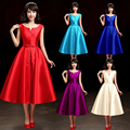 robe red tea length evening prom dress 2016 fashion spring quality satin custom made sweet bow 16 colors party formal  dress