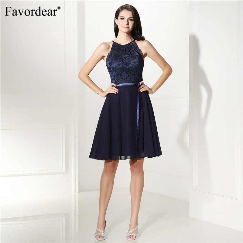 Favordear Halter Chiffon Side Bow Formal Dress Lace Backless Cocktail Dresses 2018 Homecoming Dresses Sexy Cocktail Dresses
