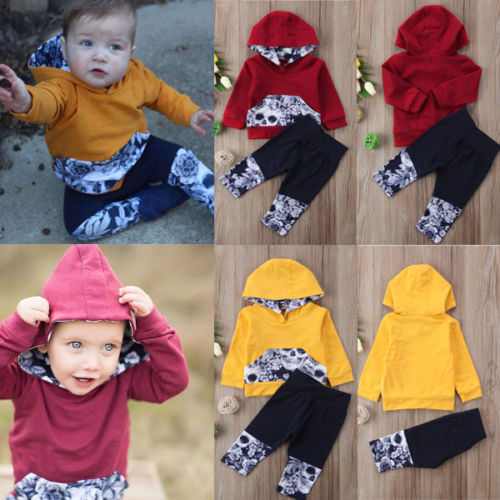 USA 0-24M Floral Baby Girls Boy Long Sleeve Hooded Top Coat+Pants Outfits Clothes