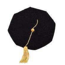 1 adet doktora Tam püskül ile doktor mezuniyet geleneksel şapka 8 taraflı köşe