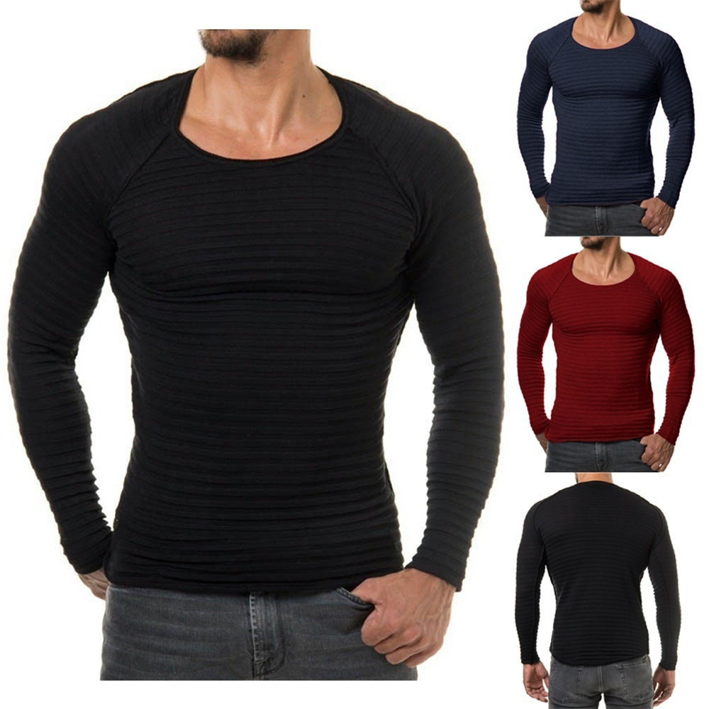 Mens Casual Slim Fit Crew Neck Shirt Jumper Pullover Sweater