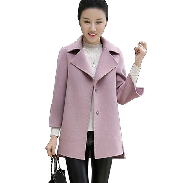 2517ee81e4f Nice Autumn Winter New Fashion Women Coat Plus Size Wool Ladies Coat  Elegant Bodycon Cocoon Wool Coat Solid Color Tops Outwear