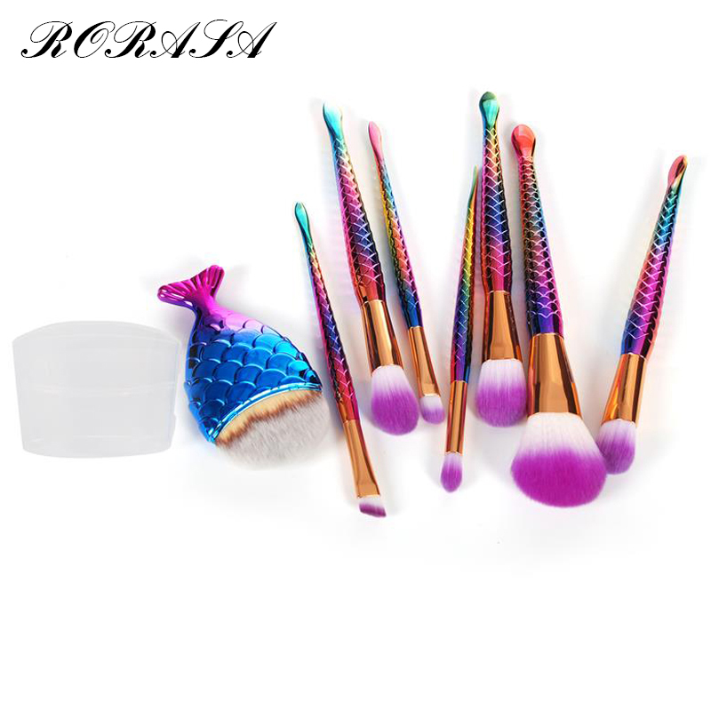 8Pcs Eyeshadow Make-up Brushes Contour Blending Cosmetic Brushs Mermaid Makeup Brushes Set Fish Cosmetic Concealer Brushes 30