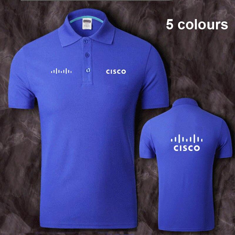 Cotton Cisco logo   Polo   Shirt Mens Short Sleeve Summer Casual Solid   Polo   Shirts   Polos