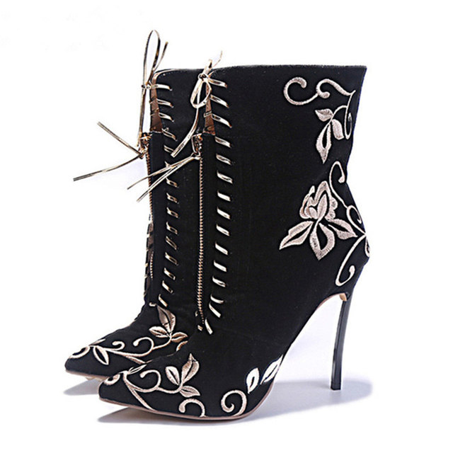Black Flock Embroidery Flower Ankle Boots Women Booties Eunice Choo 2018 N  Autumn Thin High Heels Lace up Front Zipper Boots b3b435cac09b