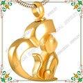 CMJ8132 Chapado En Oro Gato Animales Urna Cenizas Cremación Colgante de Acero Inoxidable 316L Collar de La Joyería Colgante 50 cm Cadena de Metal