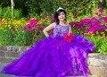 Novo 2017 roxo vestido de baile quinceanera vestidos illusion colher sweet 16 Anos Da Princesa Vestidos Para crianças de 15 Anos Vestidos De 15 Anos