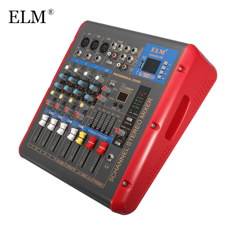 ELM Professional Karaoke Sound Mixing Console Bluetooth 4 Channel Stage Microphone Audio Mixer Amplifier With USB 48V Phantom leory mini karaoke audio mixer 4 channel microphone digital sound mixing amplifier console built in 48v phantom power with usb
