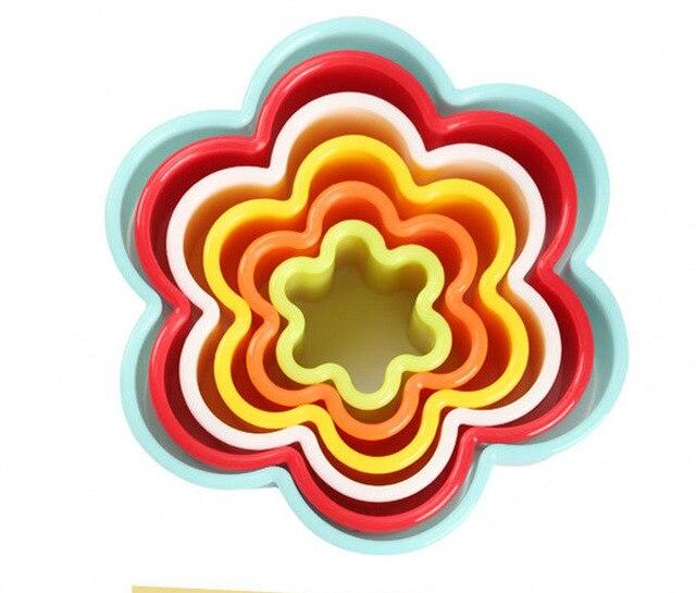 Anel mousse Baking cookie cutter stamp moldes de plástico colorido cortar 5 peças árvore de natal confeitaria kerstboom faca de Pão Rolo