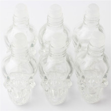 1 pcs 8 ml skull glass ball perfume bottle for filling essential oil, portable travel bottle can be filled with 6 colour