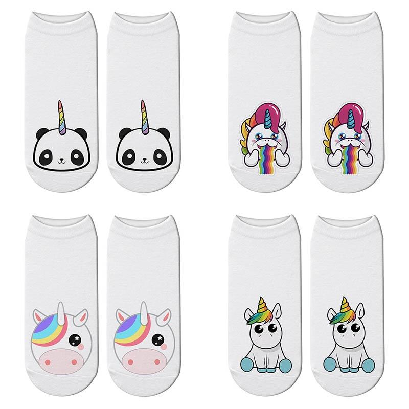 Novelty Cute Unicorn 3D Print Animals   Socks   Women Panda Ankle Licorne Chaussette   Socks   Breathable Short Art Funny Sox Gift