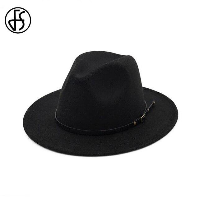 FS Classic Tesa Larga Cappello Fedora Per Gli Uomini Autunno Inverno Feltro  Trilby Cappelli di Jazz f1b19ca53d53