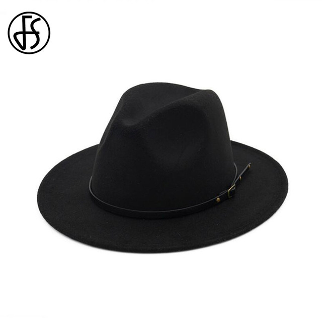 3518bde8811 FS Classic Wide Brim Fedora Hat For Men Autumn Winter Felt Trilby Jazz Hats  Women Panama Black Gray Gangster Caps
