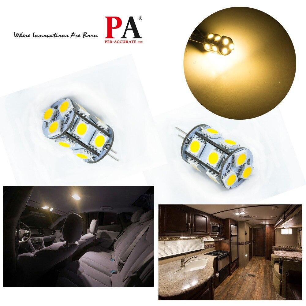 PA LED 10 pièces x spot lumière maison armoire voiture 10-30 V 13SMD 5050 G4 couleur blanc chaud intérieur lampe