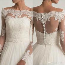Винтажные Свадебные Куртки с кружевной аппликацией, свадебные болеро с открытыми плечами и длинным рукавом, Индивидуальные свадебные куртки