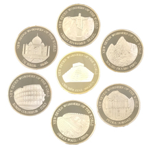 24k Gold Plated Metal Coin New Seven Wonders of Wolrd Challenge Coins Famous Build Series Gifts 7pcs Worth Collection