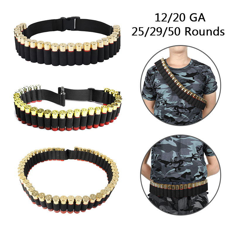 25/29/50 Rounds Hunting 12/20 Gauge Shotgun Cartridge Belt Bullet Ammo Tactical Military Airsoft Shotgun Shell Bandolier Belt