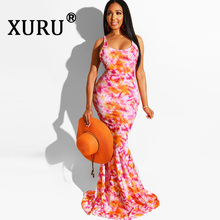 XURU Summer Tie-dyed Printed Womens Dress Tights Hip Hips Sexy Sling Fishtail