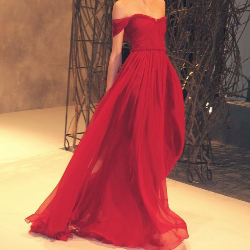 Cheap Customized vestido de noiva Red Floor Length Party Off Shoulder boat neck Chiffon Prom Formal Gown 2018   bridesmaid     dresses